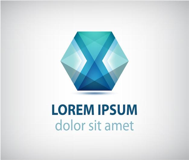Abstract veelhoek futuristisch blauw, logo