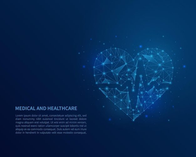 Abstract veelhoekig draadframe hart op blauwe achtergrond.