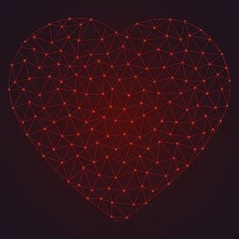 Abstract veelhoekig hart met gloeiende stippen en lijnen.