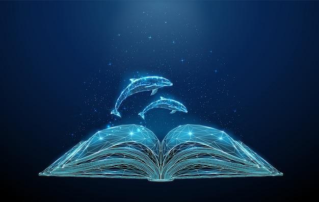 Abstract veelhoekig open boek met springende dolfijnen