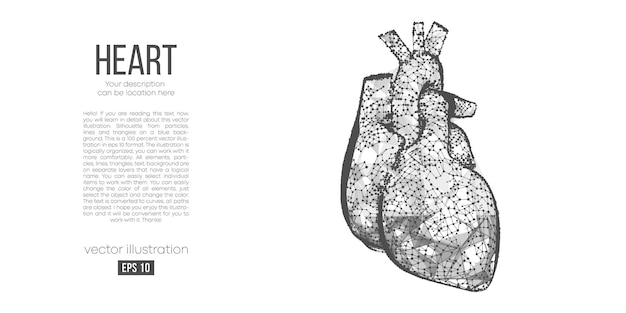 Abstract veelhoekig silhouet van hart