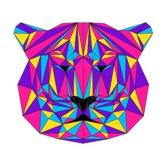 Abstract veelhoekig tijgerkatportret veelhoekig tijgerhoofd in denkbeeldige kleuren