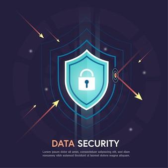 Abstract veiligheidsschild en bescherming van digitale gegevens tegen aanvallen op de donkere muur, gegevensbeveiligingsconcept, geïsoleerd plat