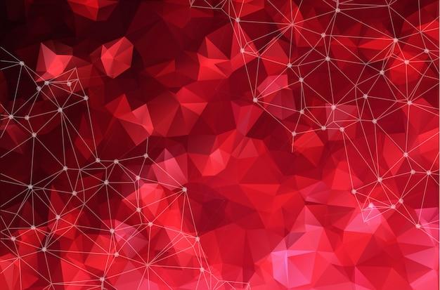 Abstract verbonden stippen op heldere rode achtergrond.