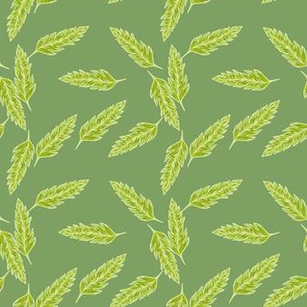 Abstract verlaat naadloos patroon op groene achtergrond. bloemen behang.