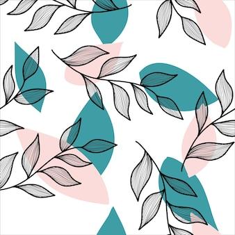 Abstract verlof bloemen naadloos vectrorpatroon, witte achtergrond, pastelthema voor bedrukte kaartstof
