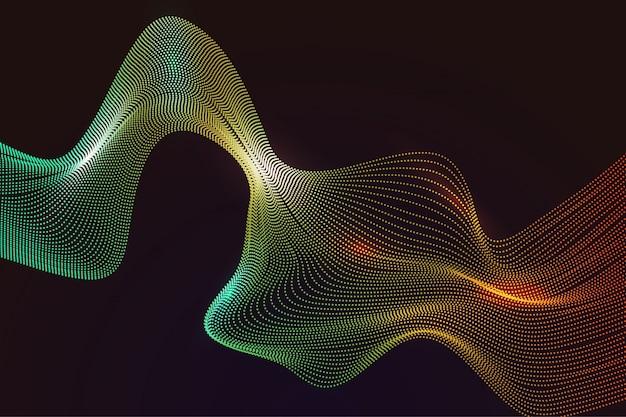 Abstract verloop bezaaid golvende kleurrijke lijn op donkere achtergrond