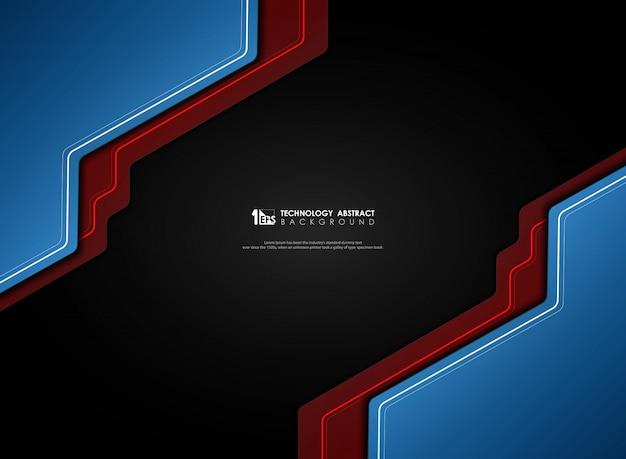 Abstract verloop blauw en rood op zwarte achtergrond.