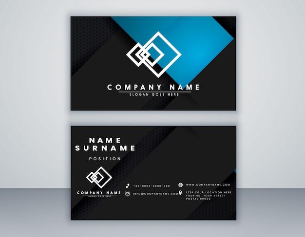 Abstract visitekaartje sjabloon zwart en blauw kleur minimaal ontwerp
