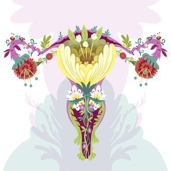Abstract vrouwelijk voortplantingssysteem met prachtige bloemen