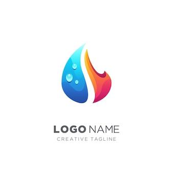 Abstract waterdruppel en vuur logo