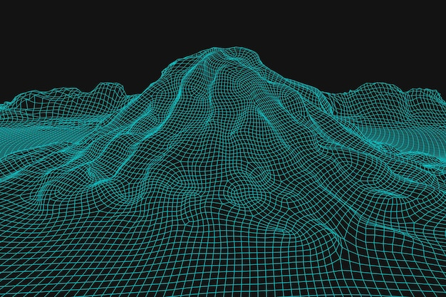 Abstract wireframe landschap achtergrond 3d futuristische mesh bergen