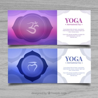 Abstract yoga banners met een symbool