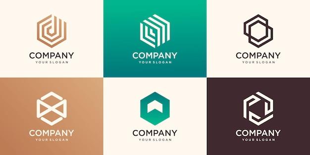 Abstract zeshoek logo-ontwerp met streep concept, modern bedrijf bedrijfslogo sjabloon