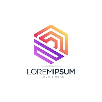 Abstract zeshoek logo voor onroerend goed bedrijf