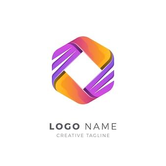 Abstract zeshoek vector logo