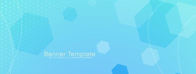 Abstract zeshoekig vormen geometrisch blauw bannerontwerp