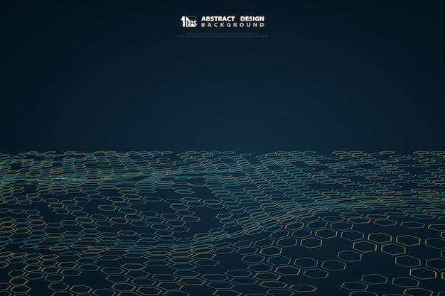 Abstract zeshoekpatroon van blauwe technologie op gradiënt donkerblauwe achtergrond.