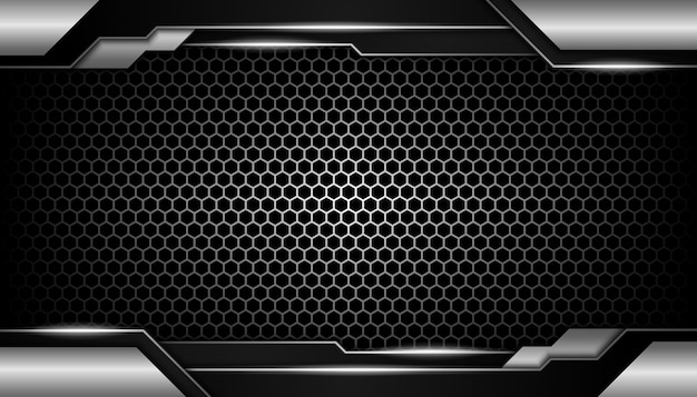Abstract zilveren licht op donkere hexagon luxeachtergrond