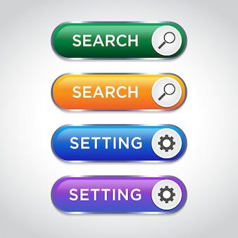 Abstract zoeken en instellen van drukknoppen voor gebruik in website, ui, app en game-interface. moderne webelementen.