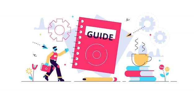 Abstract zoeken en vinden voor informatie begeleiding en kennis. handmatige ondersteuning en instructiepresentatiebrochure.