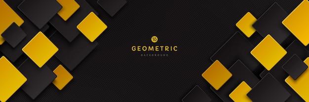 Abstract zwart en geel gouden kleur vierkant overlappatroon op donkere achtergrond met schaduw