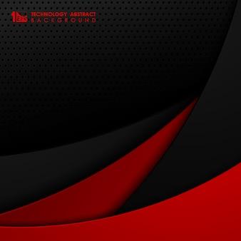 Abstract zwart en rood technologie kleurverloop ontwerp van tech sjabloon staal achtergrond.