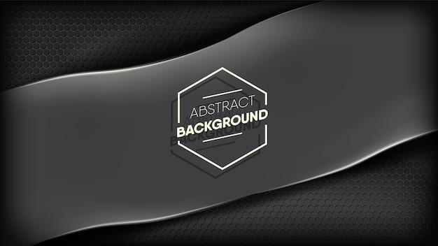 Abstract zwart gestript papier op donkere zeshoekige metalen achtergrond.