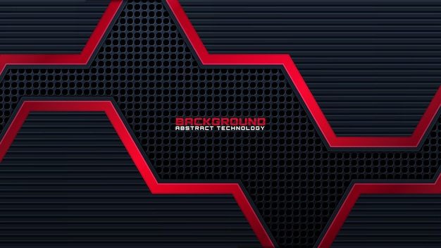 Abstract zwart met rode lijn technologie achtergrond moderne futuristische behang effen textuur diepe futuristische achtergronden. vector.