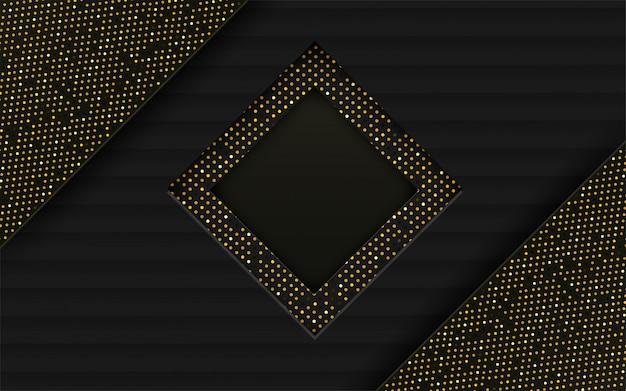 Abstract. zwarte, gouden papieren achtergrond overlappen elkaar.