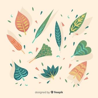 Abstractc bloemen en bladereninzamelingsachtergrond
