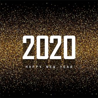 Abstracte 2020 nieuwe jaar tekstviering op glitters Gratis Vector