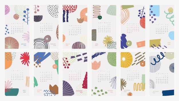 Abstracte 2022 maandelijkse kalendersjabloon, floral memphis iphone wallpaper vector set