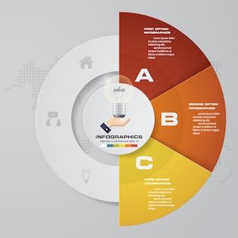 Abstracte 3 stappen grafiek infographics elementen