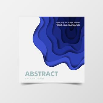 Abstracte 3d achtergrond blauw papier gesneden kunststijl
