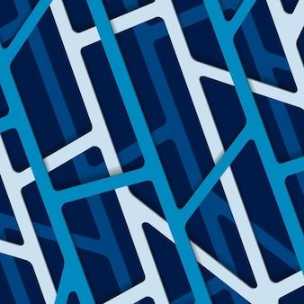 Abstracte 3d achtergrond met blauwe en witte papier gesneden lijnen.