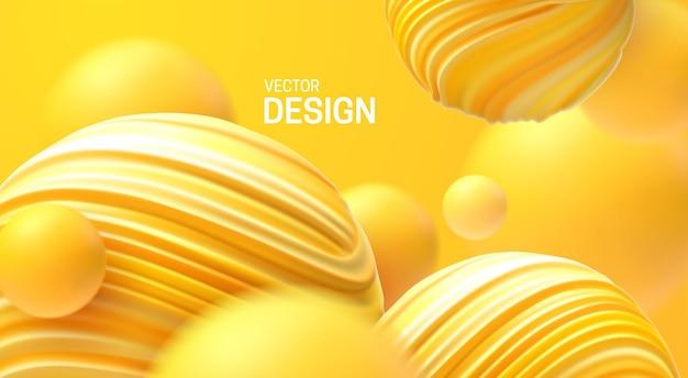 Abstracte 3d achtergrond met stuiterende gele bubbels