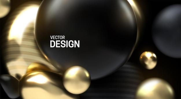 Abstracte 3d achtergrond met zwarte en gouden geperste ballen