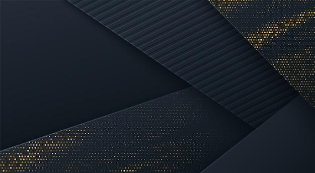 Abstracte 3d achtergrond met zwarte papierlagen. geometrische illustratie van koolstof gesneden vormen getextureerd met gouden glinsterende stippen. grafisch ontwerpelement.