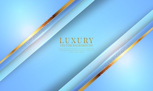 Abstracte 3d-blauwe luxe achtergrond met gouden metalen lijnen effect
