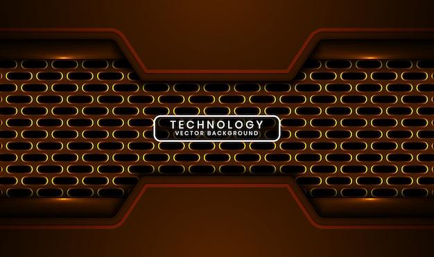 Abstracte 3d donkere technische achtergrond met ovale metalen, overlappende laag met gele lichteffectdecoratie