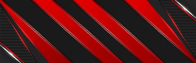 Abstracte 3d donkerrode lijnvormen met de achtergrond van de lichteffectbanner