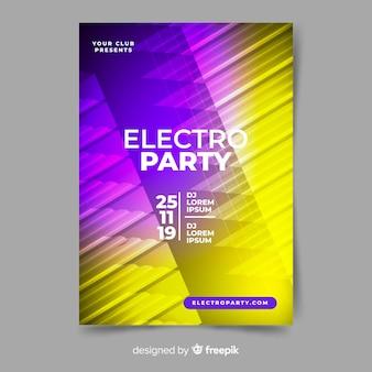 Abstracte 3d effect elektronische muziek poster sjabloon