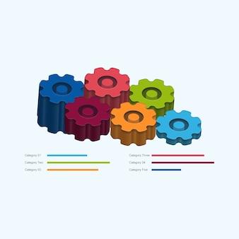 Abstracte 3d gear wiel infographic ontwerpelement