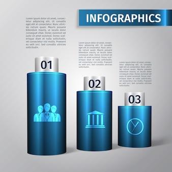 Abstracte 3d grafiek zakelijke infographics lay-out sjabloon vectorillustratie