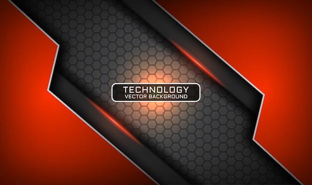 Abstracte 3d grijze en oranje technologieachtergrond, overlappingslaag met lichteffect