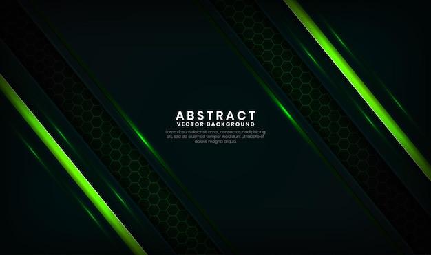 Abstracte 3d groene technologie achtergrond overlap laag met lichtlijnen effect decoratie