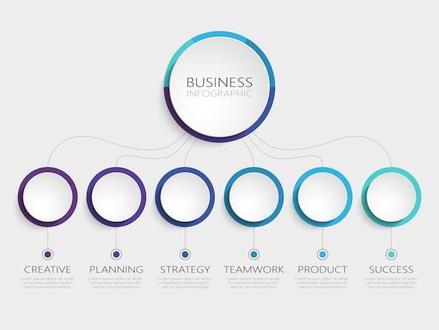 Abstracte 3d-infographic sjabloon met 6 stappen voor succes