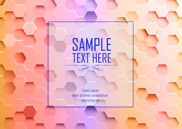 Abstracte 3d kleurrijke hexagonale achtergrondsteekproeftekst hier