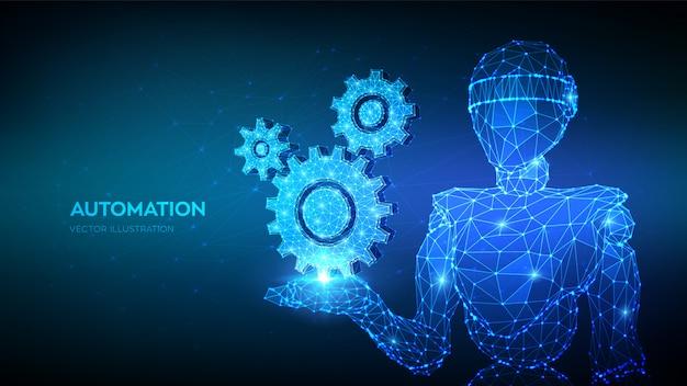 Abstracte 3d lage veelhoekige versnellingen van de robotholding. mechanische technologie machinebouw symbool in de hand.